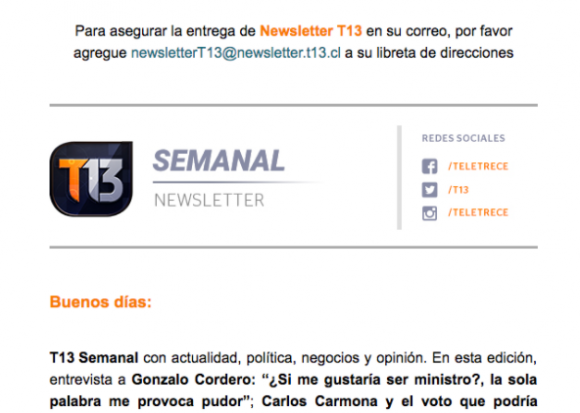 Newsletter Canal 13