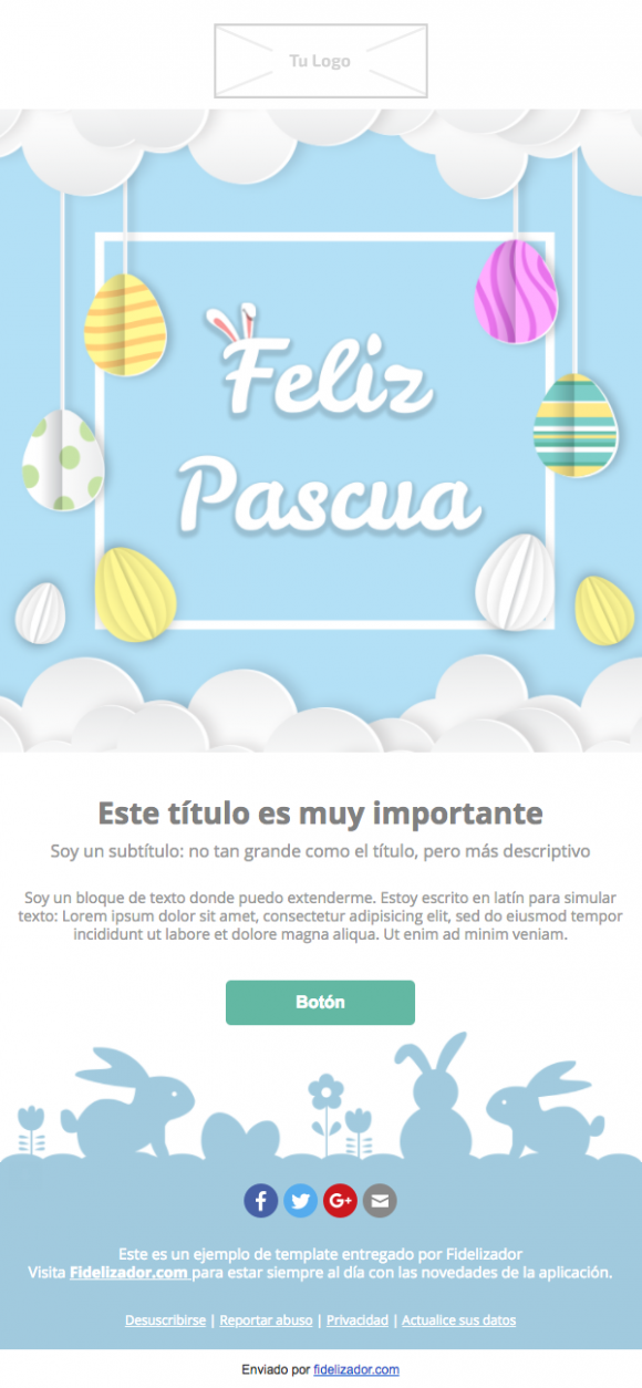 Plantilla Email Marketing Conejo Pascua